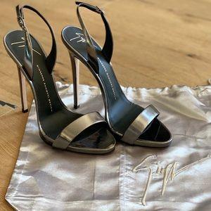 Never worn Giuseppe Zanotti gunmetal strappy heel